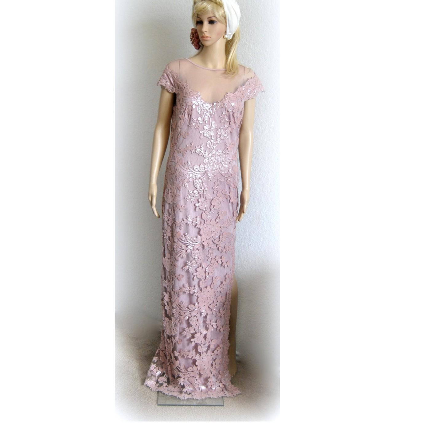 Lace Long Sleeve Gown Tadashi