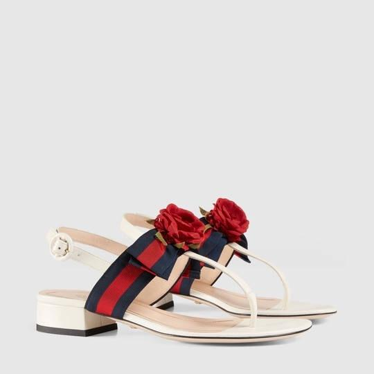 5c22941ca7b Gucci Web Bow With Silk Flower Leather Sandals Size Eu 37 (Approx