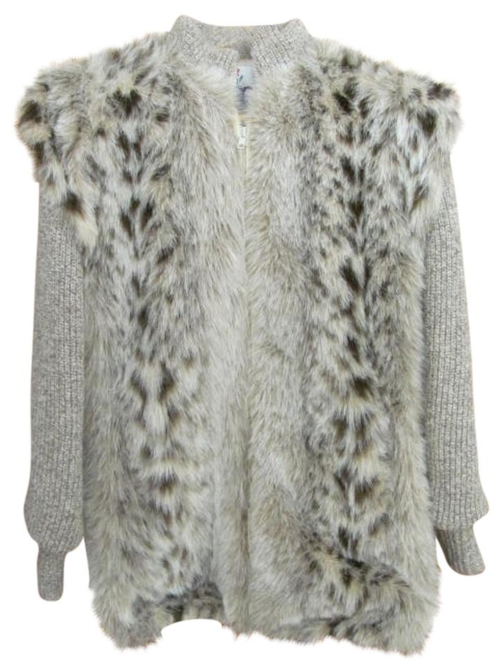 Beige Animal Print Faux Sweater Vest Fur Coat Size 8  M    Tradesy Monterey Fashions Sweater Vest Lined Faux Fur Coat