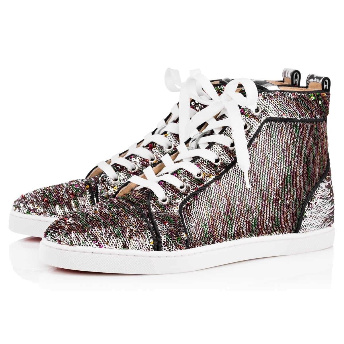 Sequin High Top Sneakers Silver