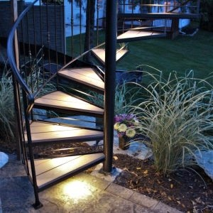 Spiral Stairs For Deck And Patio Great Lakes Metal Fabrication | Spiral Staircase Wood Treads | Arke | Design | Checker Plate | Platform Stair | Aluminum