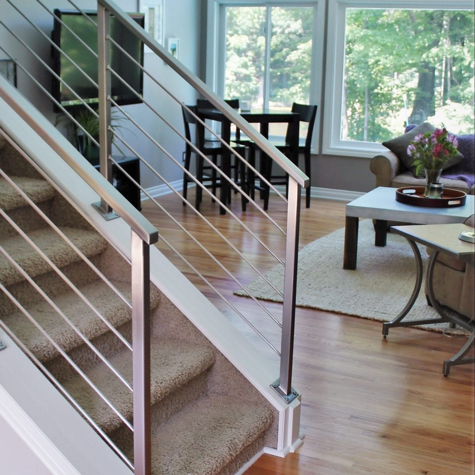 Horizontal Railing In Stainless Steel Great Lakes Metal Fabrication | Interior Stairs And Railings | Traditional | Living Room | Crystal | Rectangular Tube | Inside