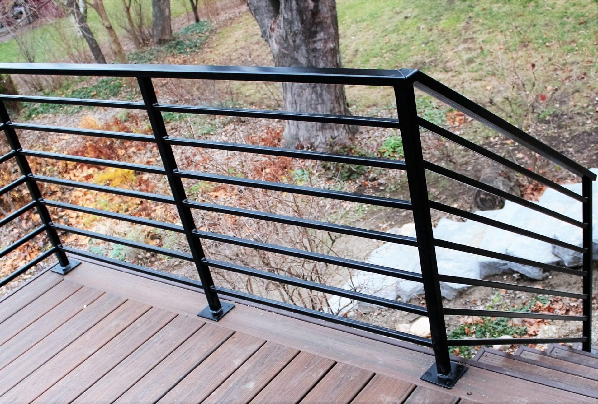 Horizontal Metal Railing For Deck Great Lakes Metal Fabrication | Modern Black Metal Stair Railing | Balcony | Really Thin | Outdoor | Metal Mesh | Dark Wood