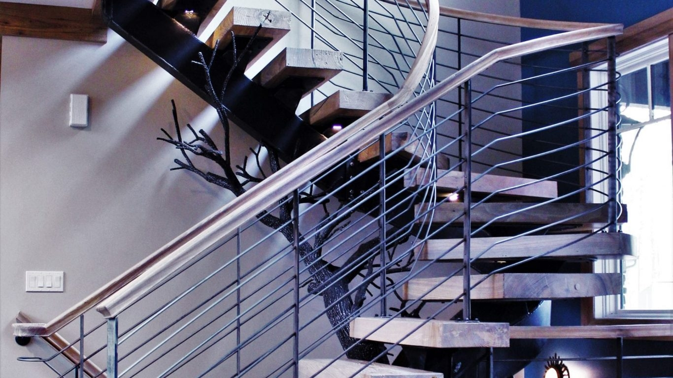 Spiral Staircase Manufacturer Great Lakes Metal Fabrication   Custom Wood Stair Railing   Natural Wood   Barn Beam   Metal Spindle   Attic Stair   Rail
