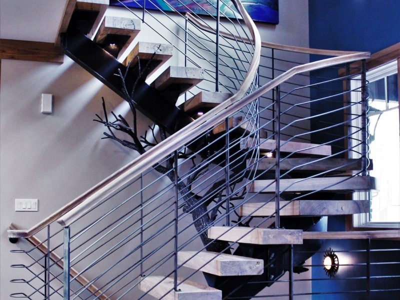 Tree Stair Floating Curved Staircase Great Lakes Metal Fabrication   Steel Round Staircase Design   Stair Steel Grill   Top Floor Railing   Terraced House   Semi Circular   Circle Stair
