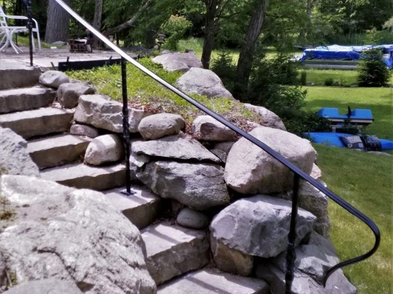 Decorative Wrought Iron Rail On Stone Steps Great Lakes Metal Fabrication | Installing Railing On Stone Steps