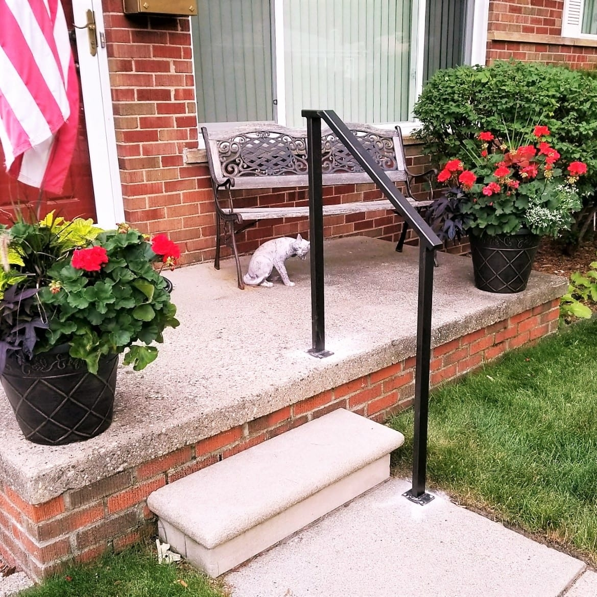 Simple Bronze Porch Step Rail Great Lakes Metal Fabrication   Handrail Cost Per Foot