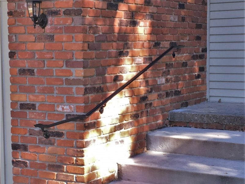 Exterior Metal Wrap Around Handrail Great Lakes Metal Fabrication | Metal Handrails For Stairs Exterior | Porch | Concrete Steps | Wrought Iron Railings | Outdoor Stair | Banister