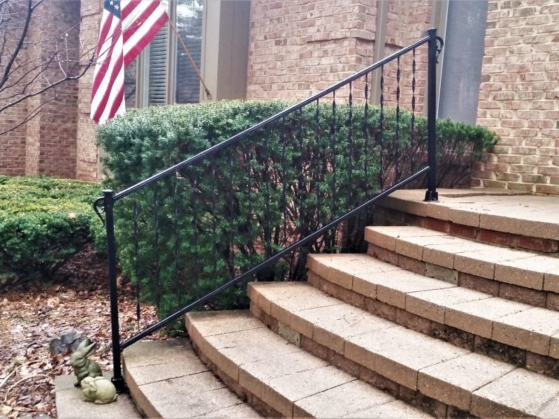 Traditional Wrought Iron Porch Railing Great Lakes Metal Fabrication | Wrought Iron Railings For Steps | Custom | Metal | 2 Step | Rough Iron | Exterior