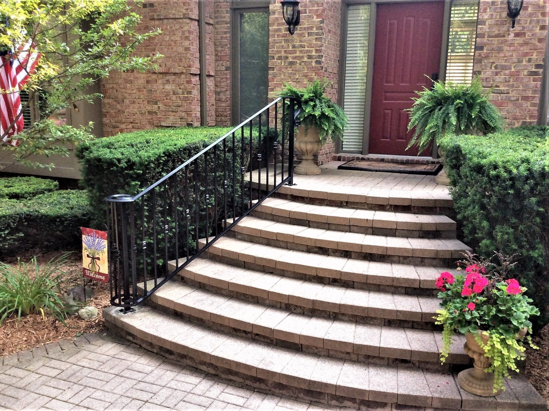 Traditional Wrought Iron Porch Railing Great Lakes Metal Fabrication | Outdoor Railings For Steps | Design | Hand | Porch | Front Door | Simple