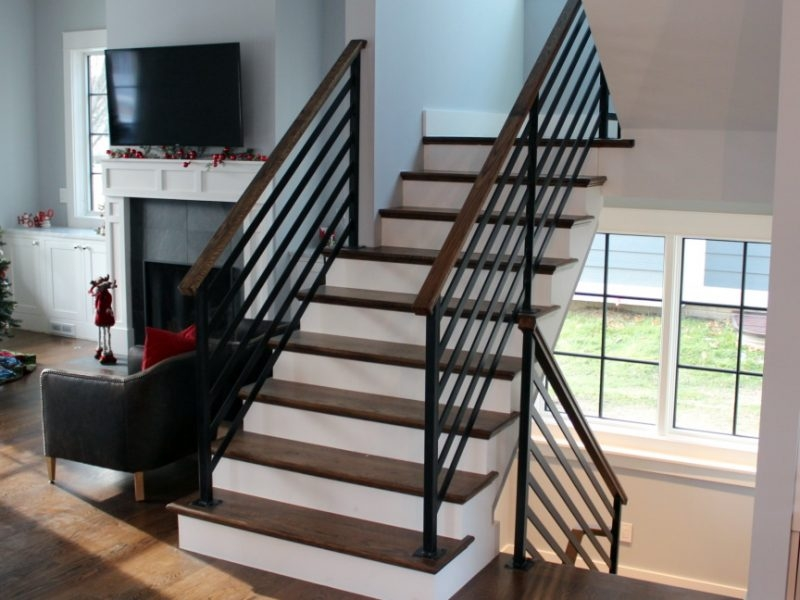 Flat Bar Horizontal Rail With Wood Top Great Lakes Metal Fabrication | Wood And Metal Banister | Modern | Rustic | Stainless Steel | Design | Aluminum