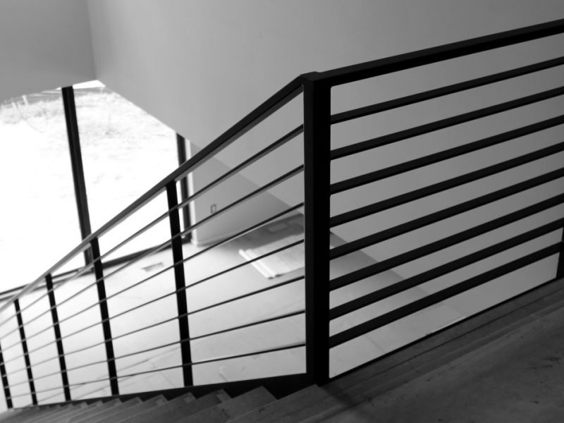 Luxury Horizontal Metal Railing For Stairs Great Lakes Metal | Black Metal Handrail For Stairs | Rod Iron | Metal Railing | Iron Pipe | Natural Wood | Artistic