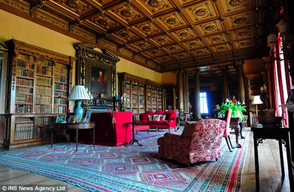 Highclere Castle Floor Plan  The Real Downton Abbey   Jane Austen s     Comfortable seating within the library