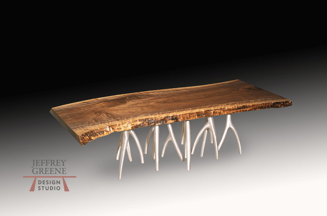 Dark Wood And Metal Coffee Table