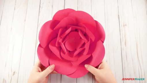 How to Make Giant Paper Flowers   Easy and Fast    Jennifer Maker A finished giant paper flower in pink