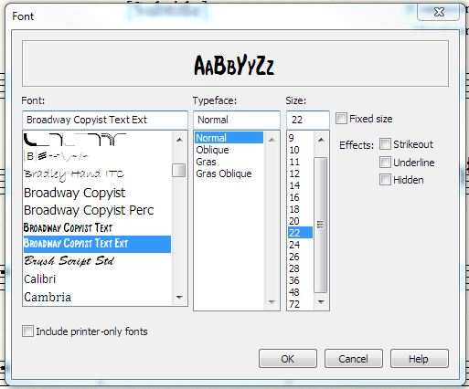 new selection font dialog in Finale 2012