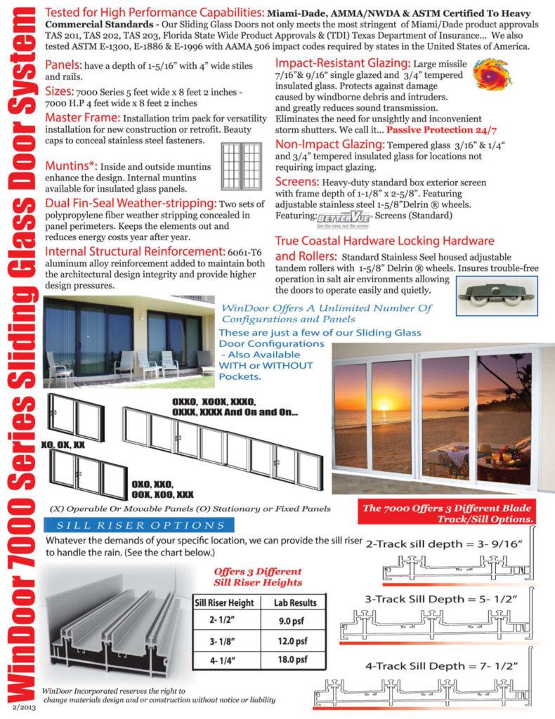 7000 Series Sliding Glass Doors Aluminum Sliding Glass Doors