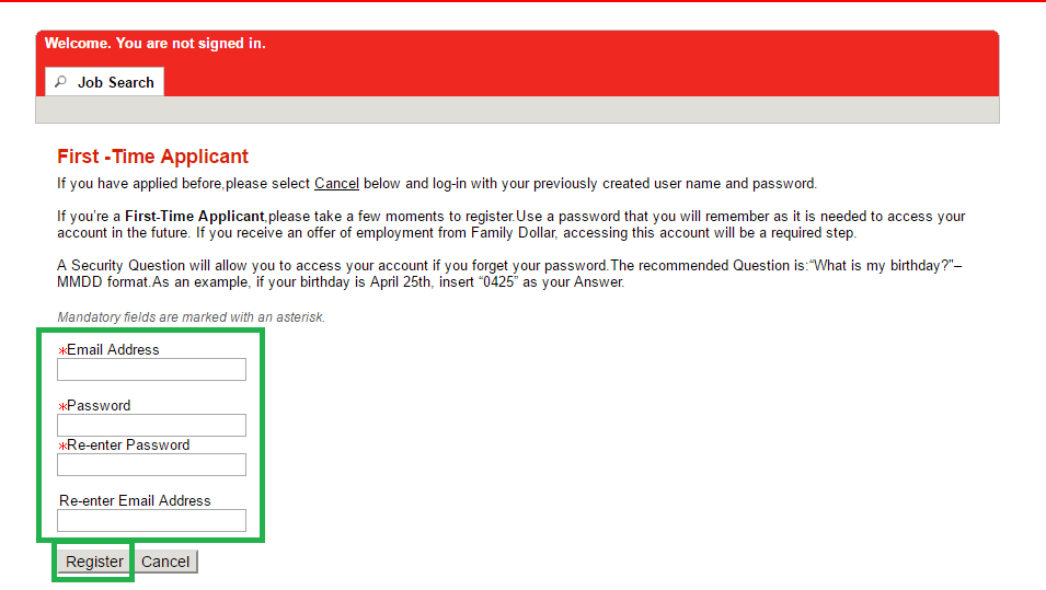 Application Apply Family Dollar Online