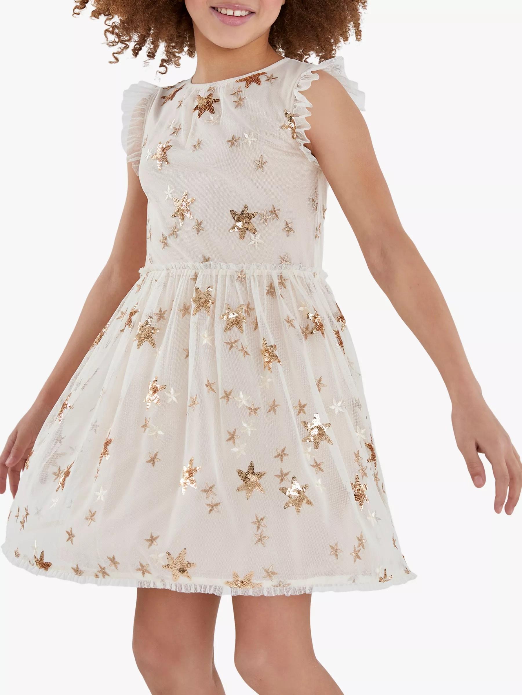 Mintie By Mint Velvet Girls Gold Star Party Dress
