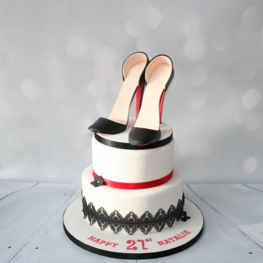2 Tier Shoe Cake Black Red