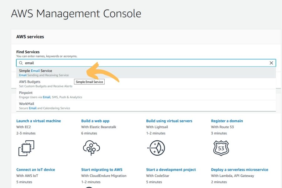 AWS Management Console - Simple Email Service
