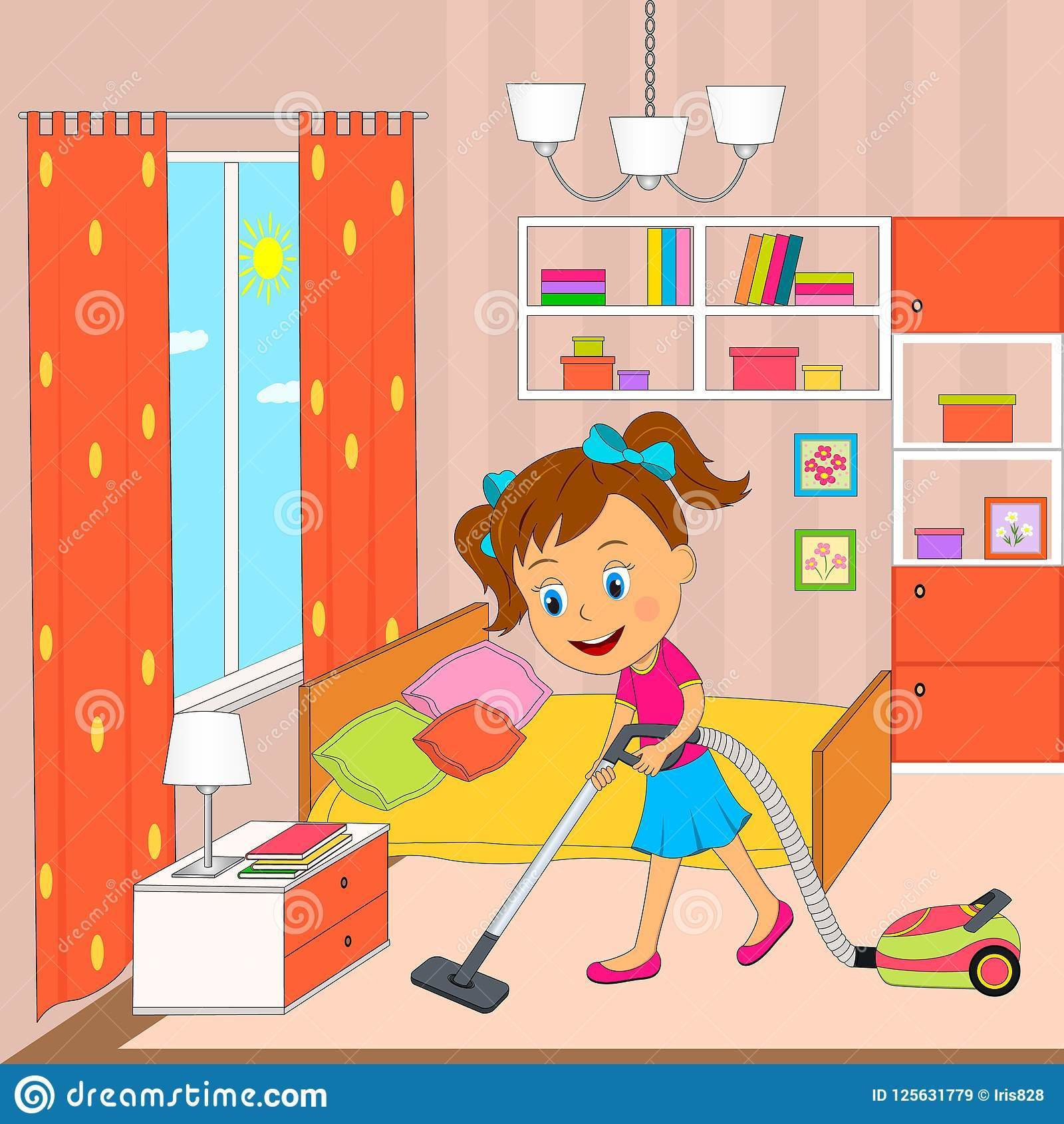 Best Cleaning Bedroom Stock Illustrations – 281 Cleaning With Pictures