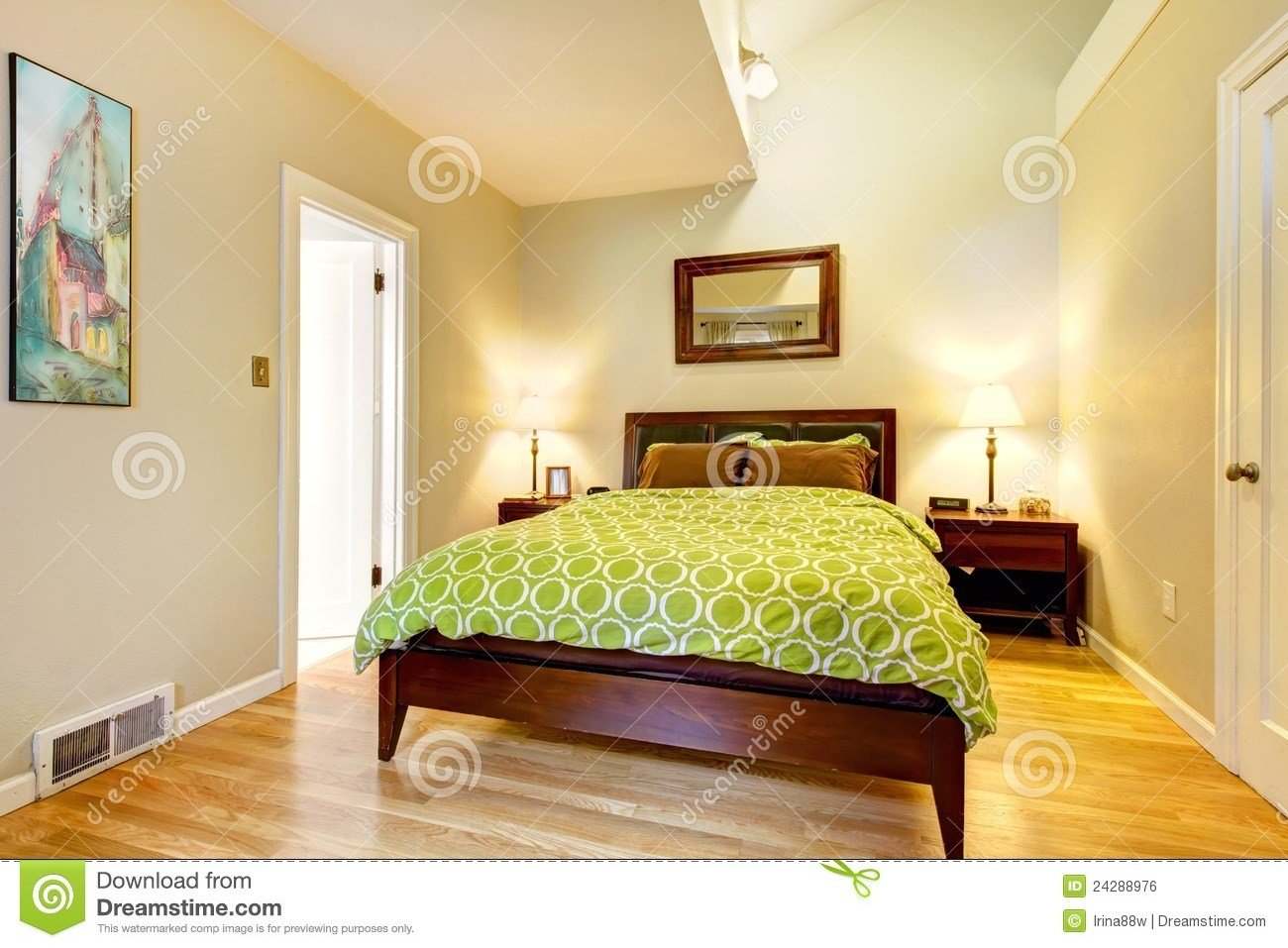 Best Modern Green And Beige Bedroom With Brown Bed Royalty With Pictures