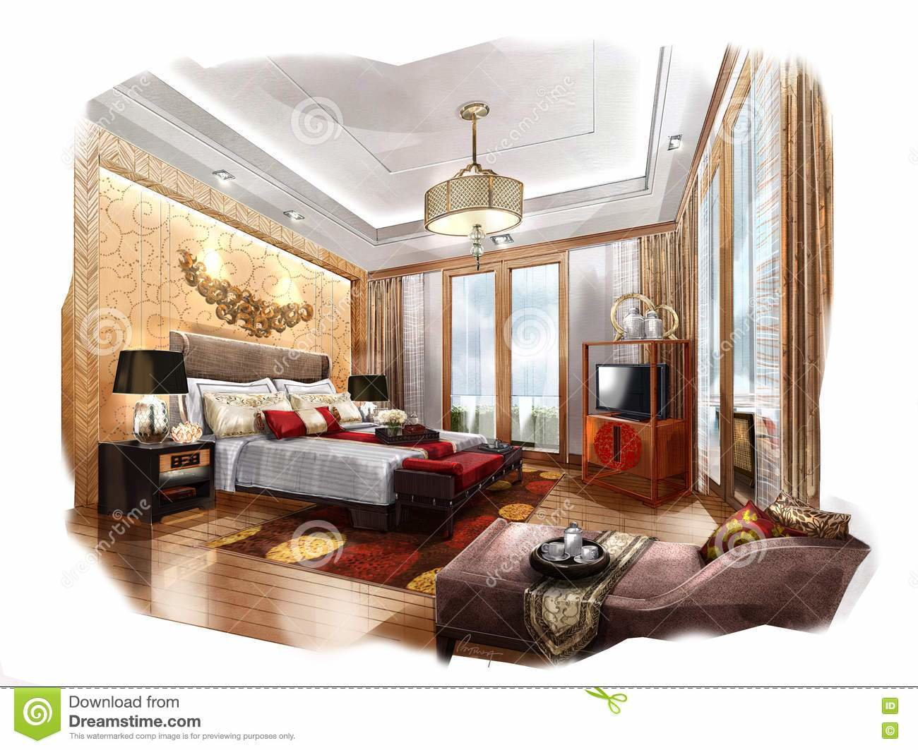 Best Sketch Perspective Interior Bedroom Into A Watercolor On With Pictures