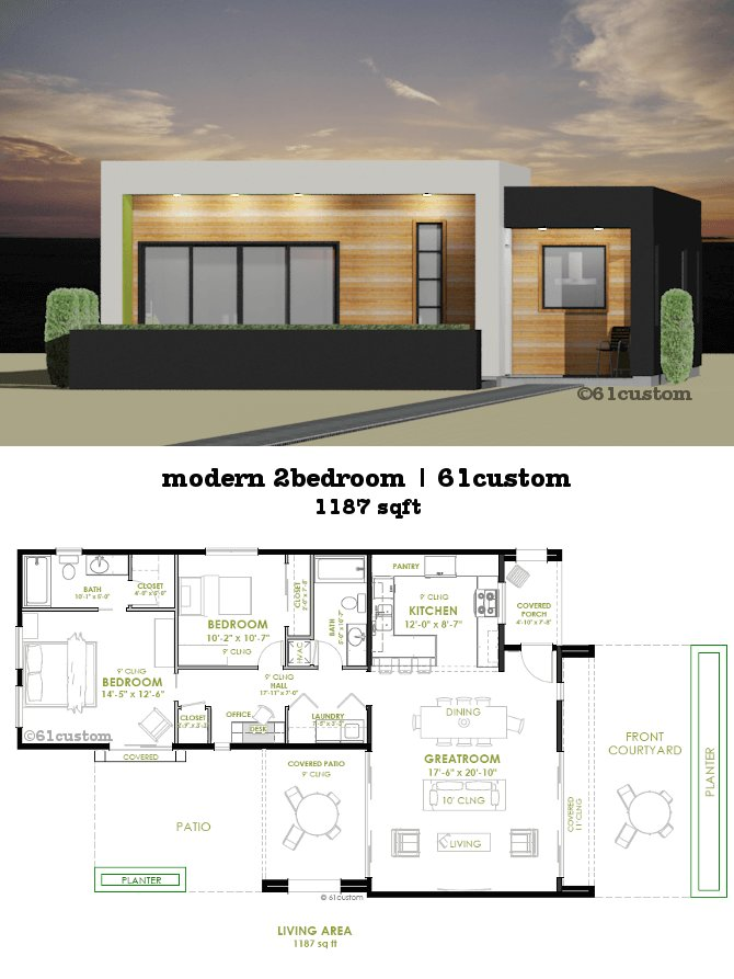 Best Modern 2 Bedroom House Plan 61Custom Contemporary Modern House Plans With Pictures