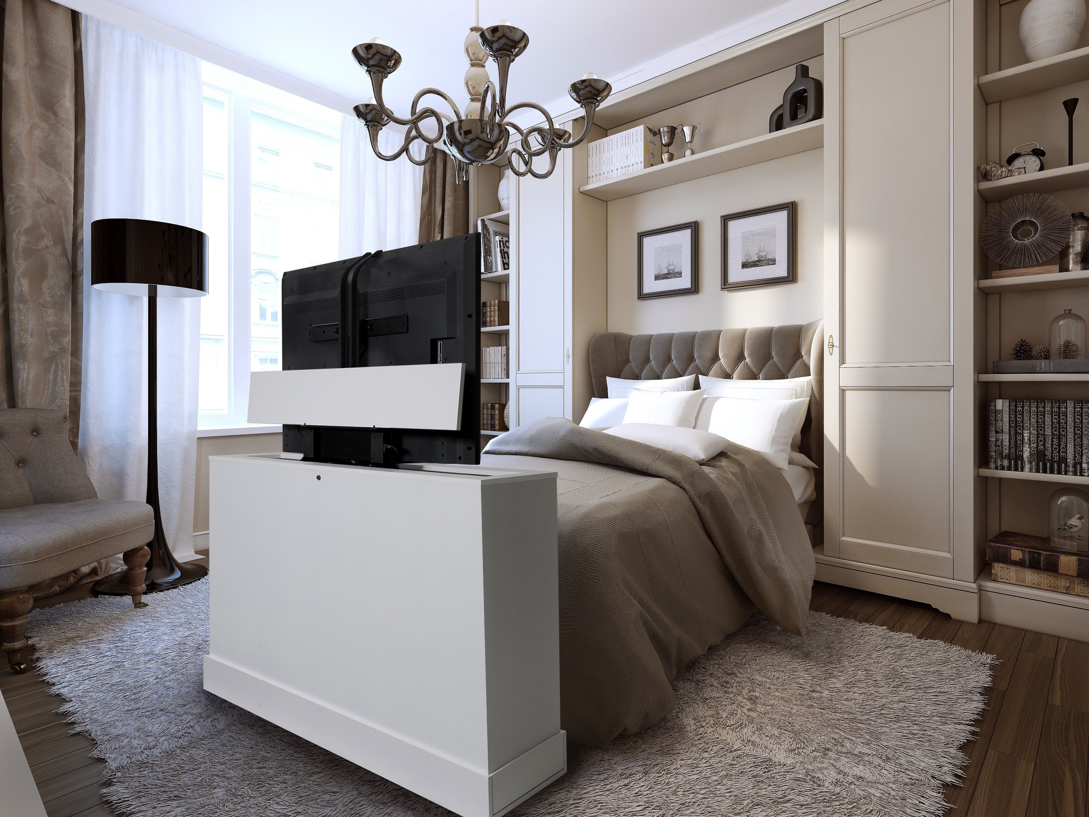 Best End Of Bed Tv Lift Cabinets For Flat Screens – Madison Art Center Design With Pictures