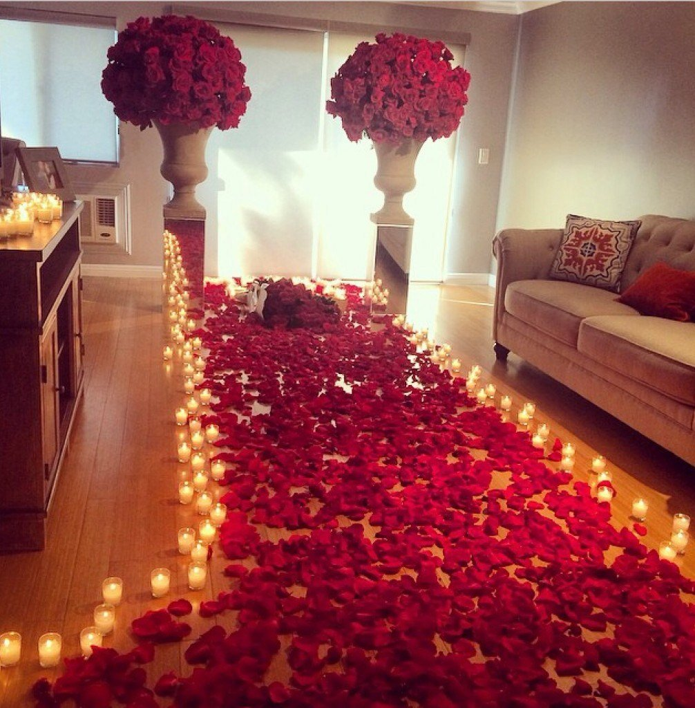 Best Romantic Room Decoration With Candles And Roses Wedding With Pictures