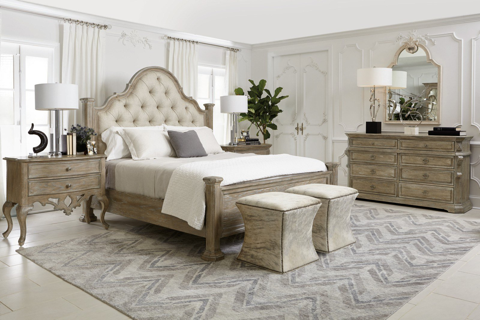 Best Bernhardt Campania 4Pc Upholstered Panel Bedroom Set In With Pictures