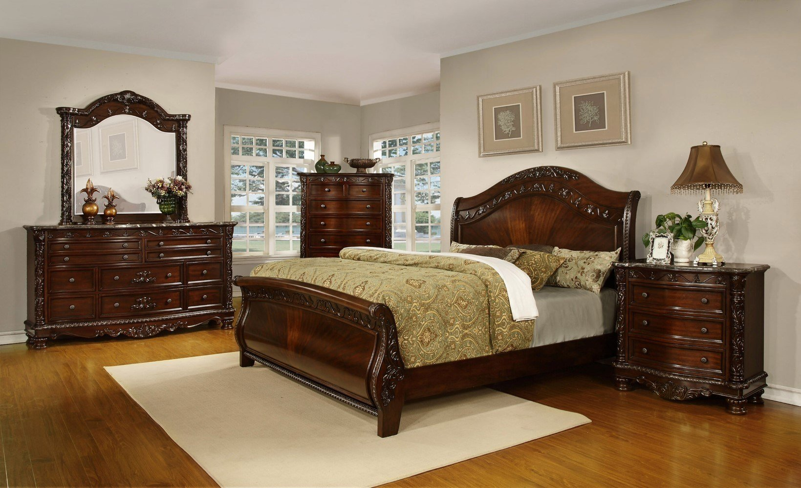 Best Oasis Home Patterson Sleigh Bedroom Set In Rich Pecan With Pictures