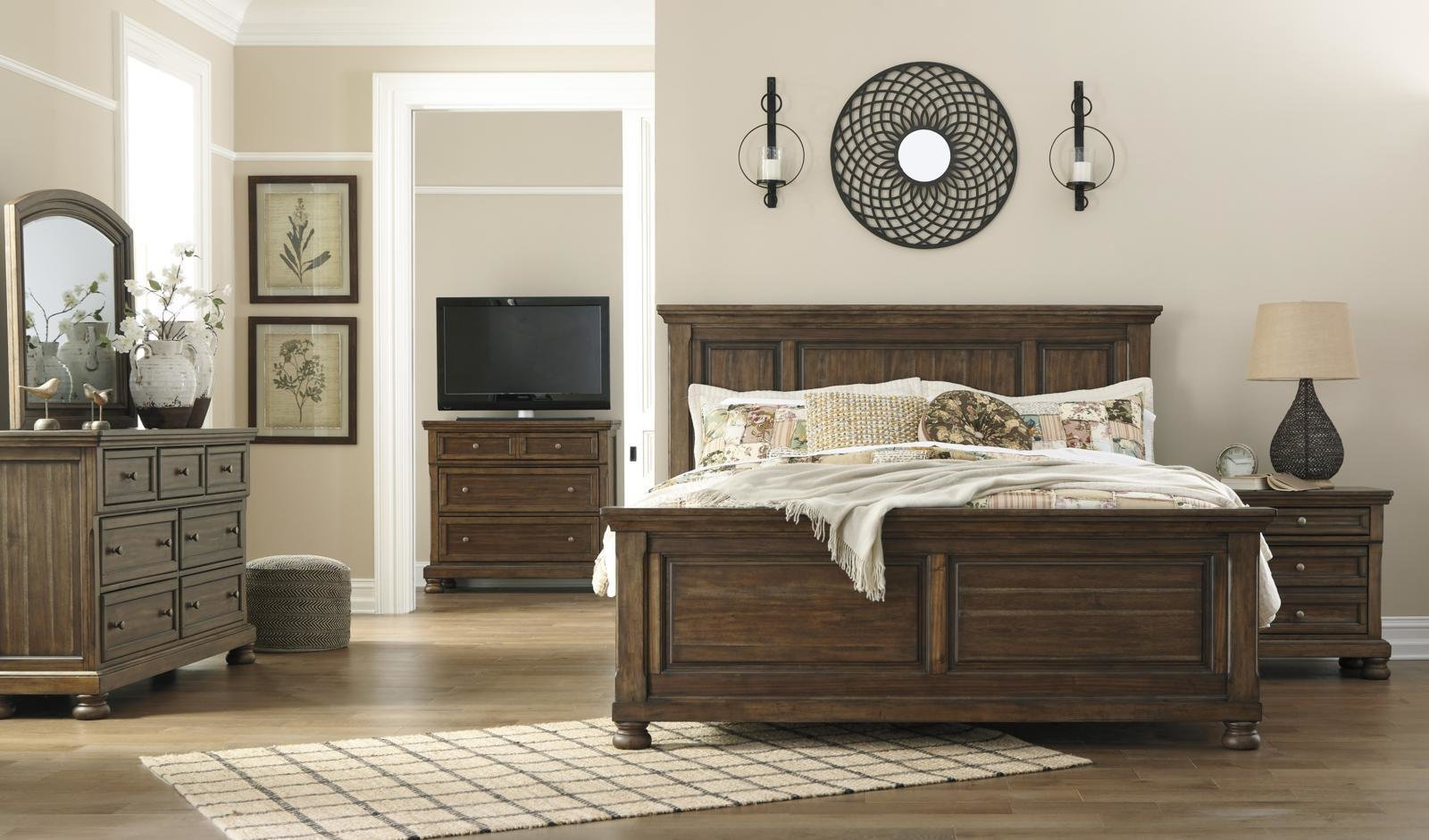 Best Flynnter 4Pc Panel Bedroom Set In Medium Brown With Pictures