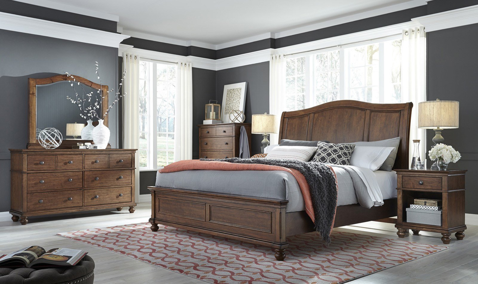Best Aspenhome Oxford 4Pc Sleigh Bedroom Set In Whiskey Brown With Pictures