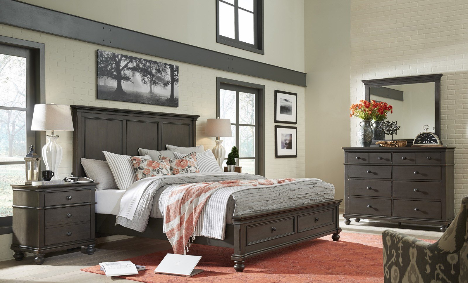 Best Aspenhome Oxford 4Pc Panel Storage Bedroom Set In Peppercorn With Pictures