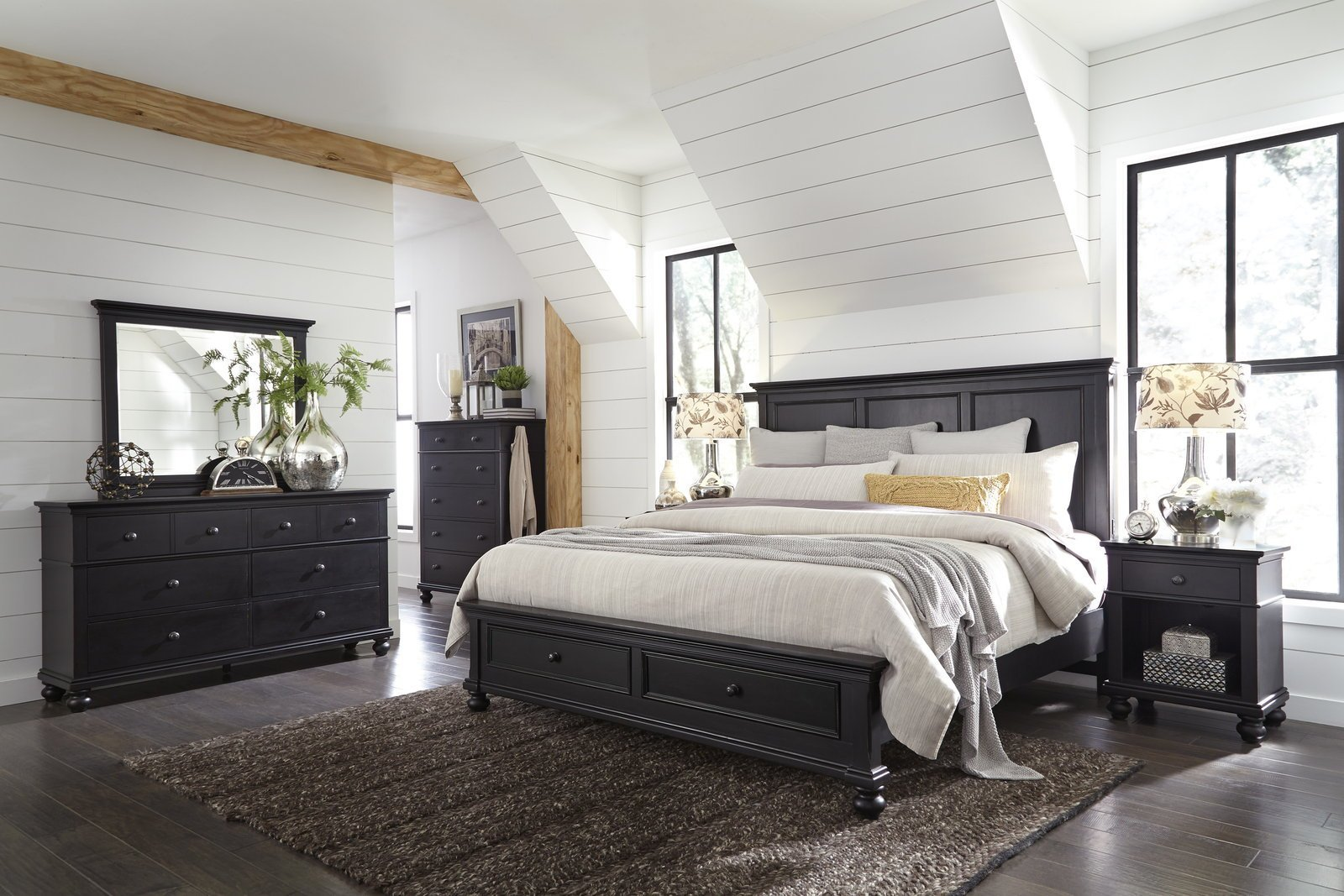 Best Aspenhome Oxford 4Pc Panel Storage Bedroom Set In Black With Pictures
