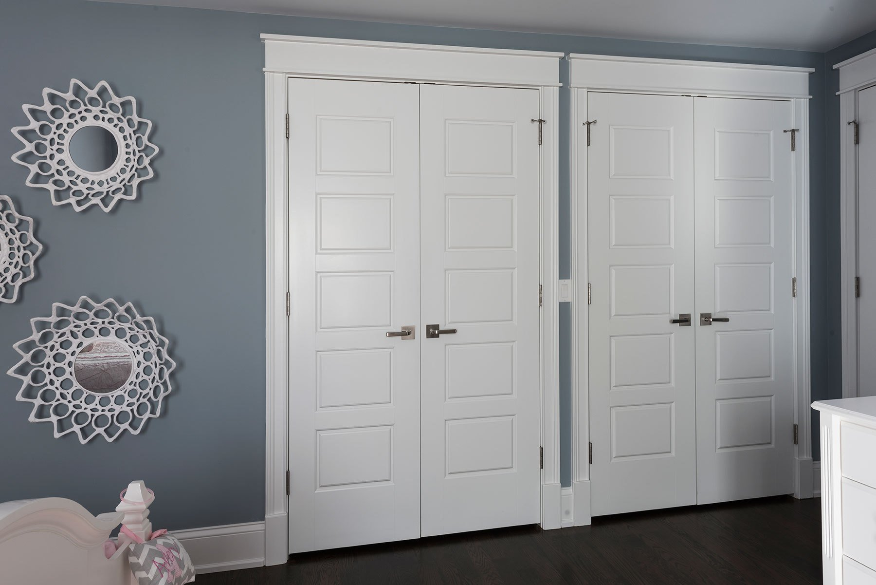Best 5 Panel Paint Grade Mdf Double Closet Doors With Ball With Pictures