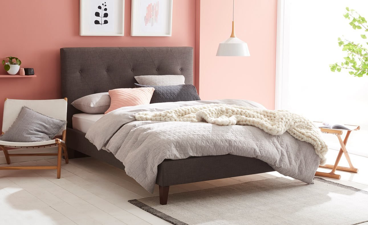 Best Jersey Upholstered Bed Frame Bedroom Furniture Forty Winks With Pictures