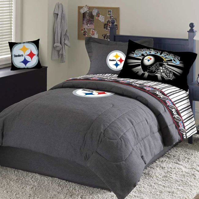 Best Pittsburgh Steelers Team Black Denim Full Size Comforter With Pictures