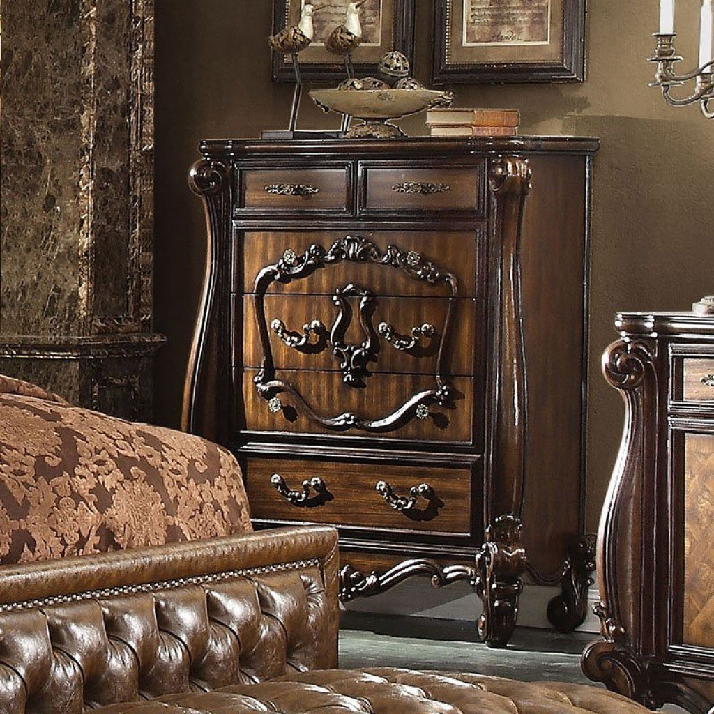 Best Versailles Panel Bedroom Set Cherry Oak Acme Furniture With Pictures