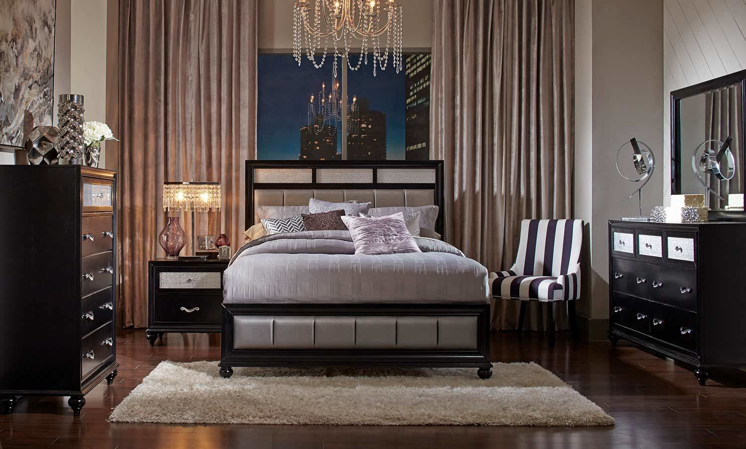 Best Coaster Barzini Upholstered Bedroom Set Black 200891 With Pictures