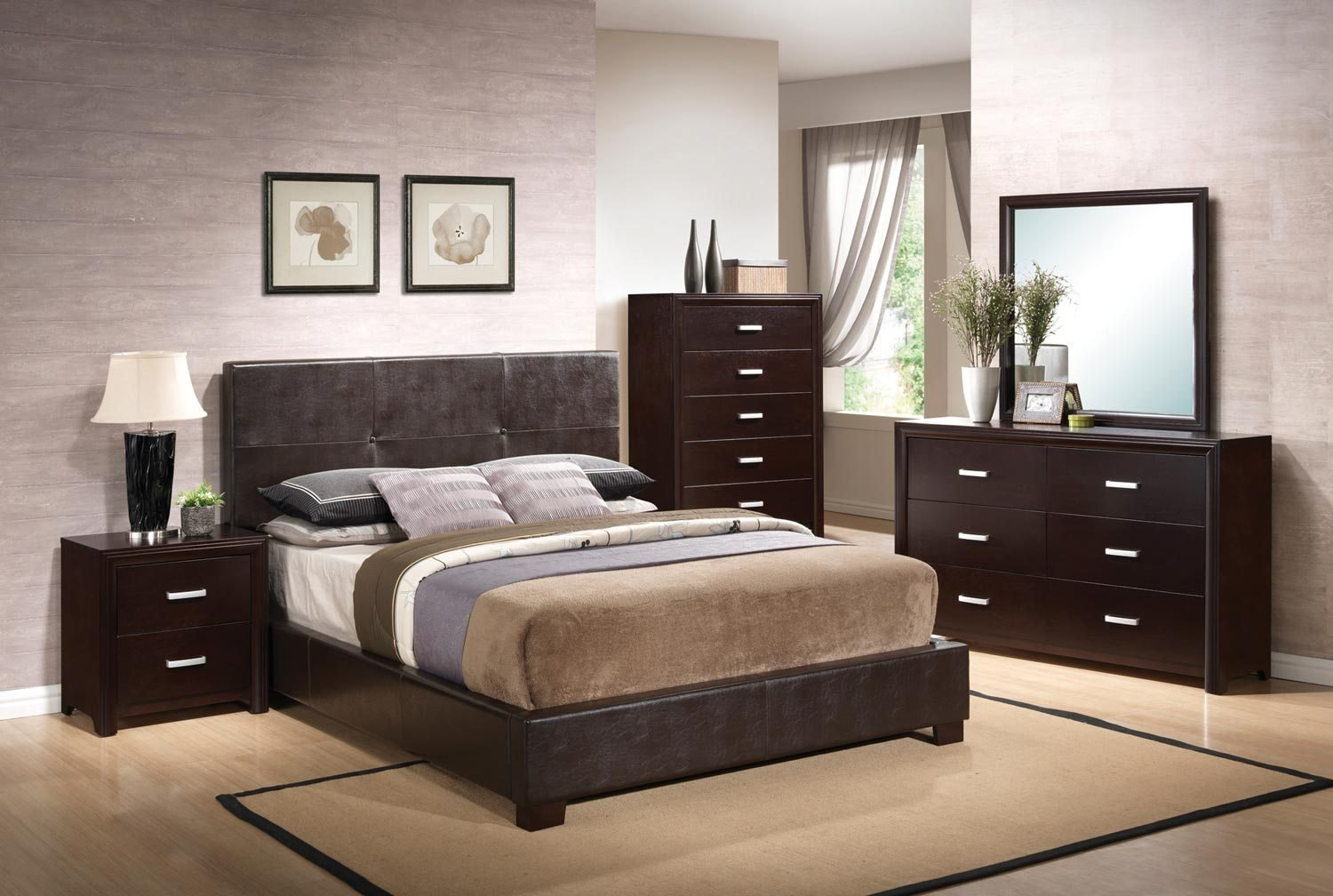Best Coaster Andreas Vinyl Upholstered Low Profile Bedroom Set With Pictures