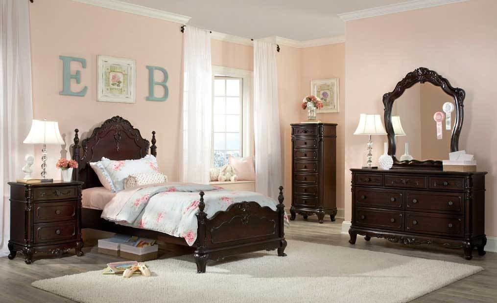 Best Homelegance Cinderella Bedroom Set Dark Cherry B1386Nc At Homelement Com With Pictures