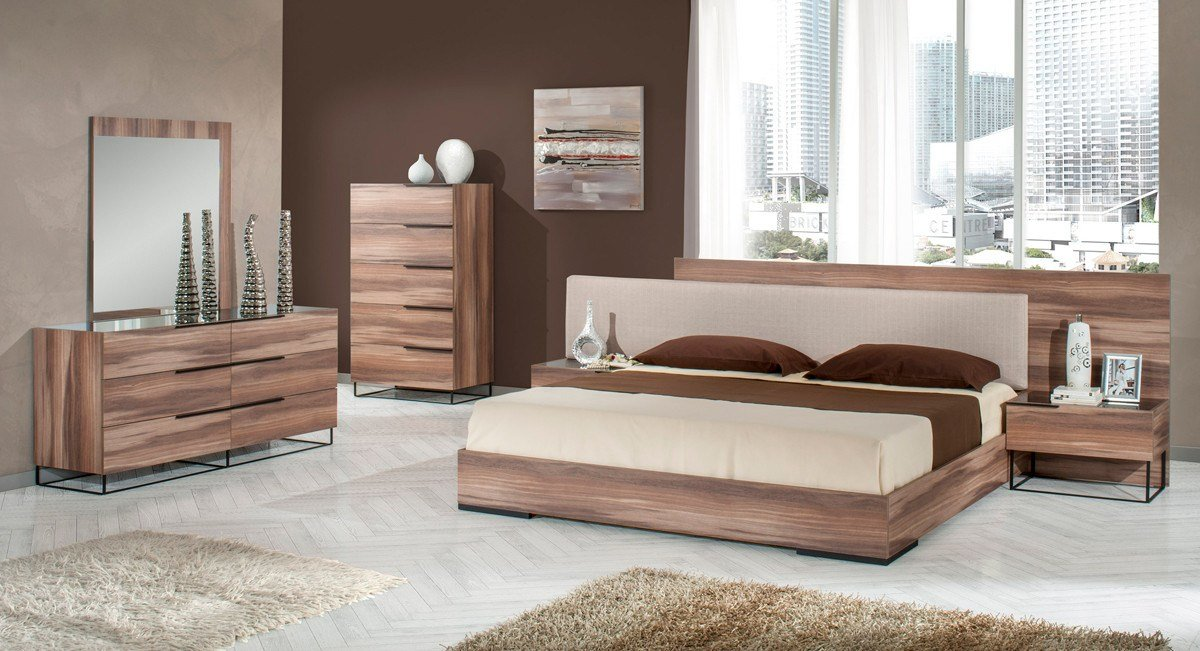 Best Nova Domus Matteo Italian Modern Walnut Fabric Bedroom Set With Pictures