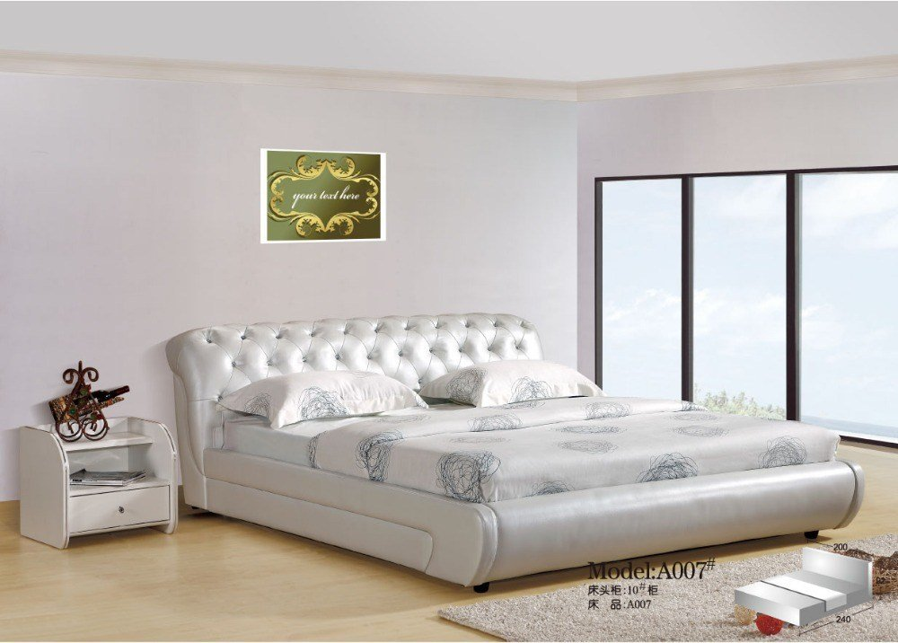 Best Elegant High Quality Modern Soft White Leather Bed In With Pictures