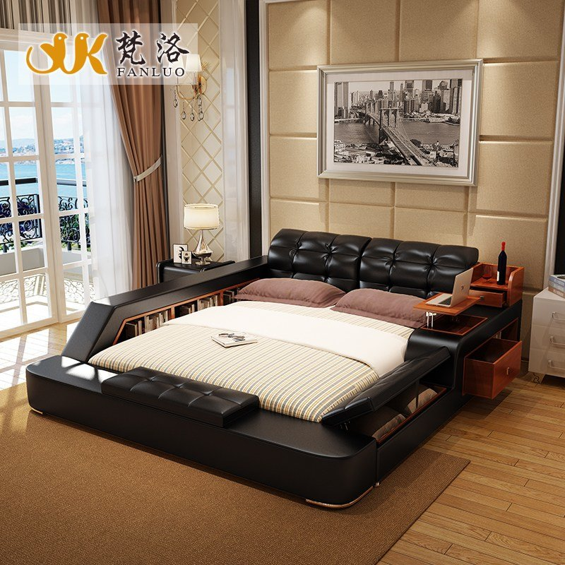 Best Modern Leather Queen Size Storage Bed Frame With Side With Pictures