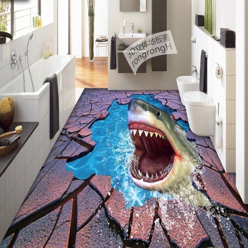 Best Free Shipping Sea World Shark Cr*Ck 3D Floor Painting With Pictures