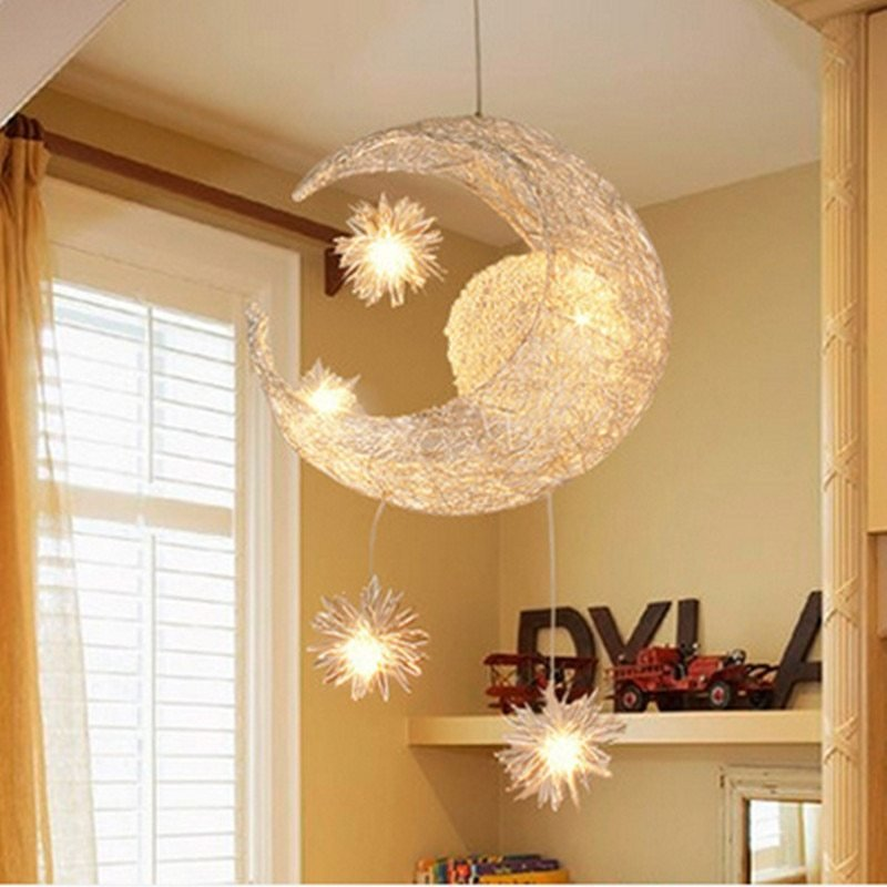 Best Modern Led Chandelier Lighting Moon Star Sweet Bedroom With Pictures