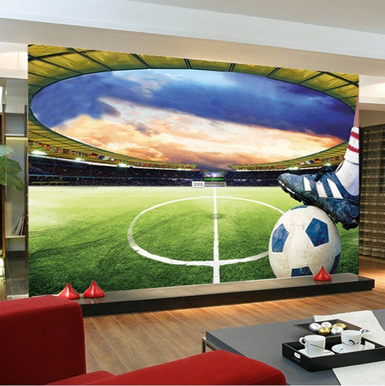 Best Football Stadium Wall Mural Customize Photo Wallpaper Soccer Game Room Decor Collection Living With Pictures